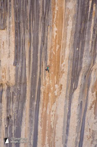 Monique Forestier on Tom et je Ris (8b+), a 60-metre route in Verdon Gorge, France.