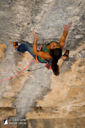 Daila Ojeda, Mind Control (8c+), Oliana, Catalunya, Spain.