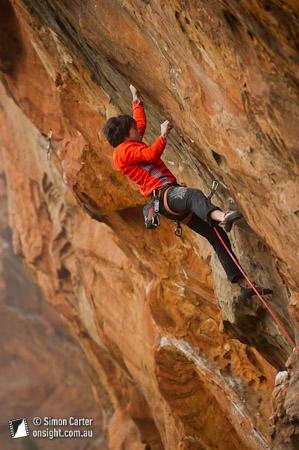 Ian Dory sending Daemon Flower (31), Muline Crag, The Grampians, Victoria, Australia.