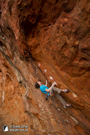 Dave Graham on Flower Power (33 or 8c), which he sent second shot, at Muline Crag, Grampians, Victoria, Australia.