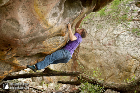 Nalle Hukkataival, first ascent of Rootarted (V12), Buandik boulders, Grampians, Victoria, Australia.