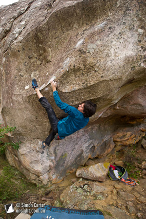 Ian Dory attempting an unclimbed V14ish problem, Buandick boulders.