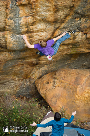 Nalle Hukkataival, first ascent of Knowing is Half The Battle (V11 highball), Buandik boulders, Grampians, Victoria, Australia.