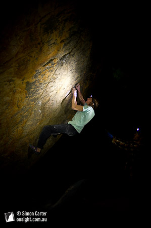 Dave Graham making the most of good conditions after dark(!), attempting, Right Thurr (V13) Buandik boulders, Grampians, Victoria, Australia.