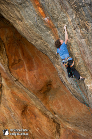 Dave Graham working What's an Aging Gigolo to Do (32), Millennium Caves, Grampians, Victoria, Australia.