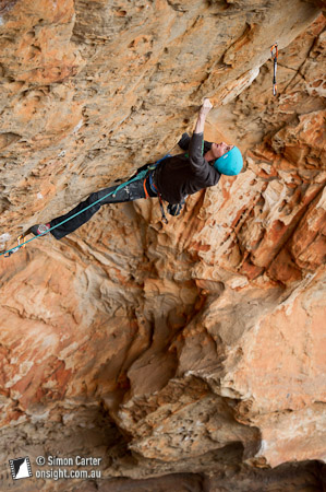 Dave Graham flashing Breathing Gasoline (30), Millennium Caves, Grampians, Victoria, Australia.