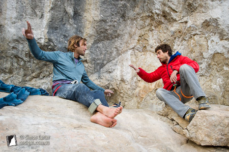 Chris Sharma and Joe Kinder at Oliana.