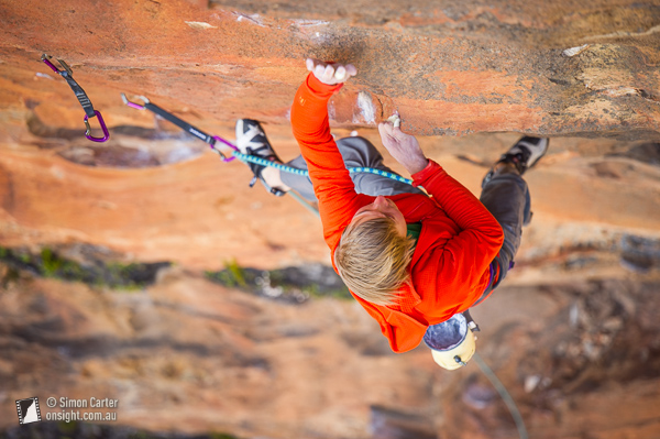 Alexander Megos, Retired Extremely Dangerous aka The Red Project, at Diamond Falls in the Blue Mountains. The first grade 35 (9a) route in Australia.