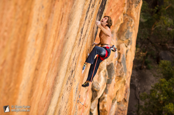 Chris Sharma sending The Groove Train (33, 5.14b), Taipan Wall, Grampians.