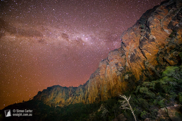 Under the stars at Top Camp, Moonarie. 30 second exposure with cliffs painted by headtorches