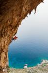 Simon Montmory, Typhoon (7c), Crystal Cave, Telendos Island near Kalymnos, Greece.