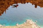 Olivier Michellod, Es Pontas (7c), Crystal Cave, Telendos Island near Kalymnos, Greece.