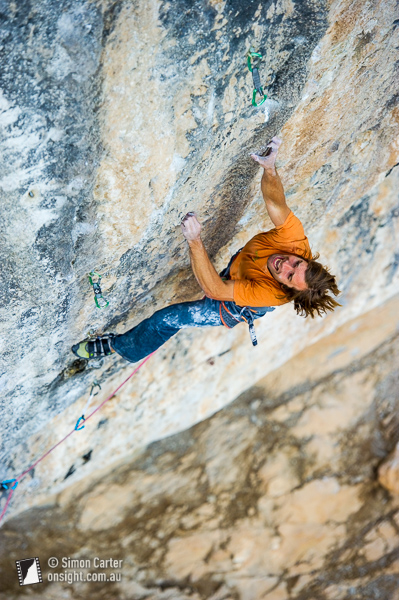 Chris Sharma working his 9b+ (5.15c) La Dura, Dura project at Oliana.
