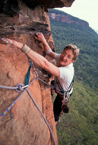John Ewbank on Clockwork Orange in the Blue Mountains in 1993. Photo: Greg Child.