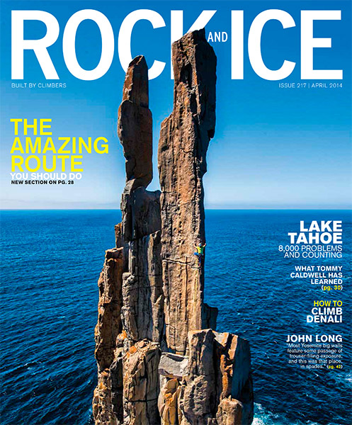 The photo is of Steve Moon climbing Pole Dancer (22) at the end of Cape Raoul, Tasman Peninsula, Tasmania, Australia.