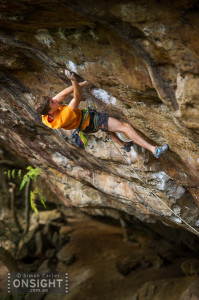Daniel Fisher pulling the crux of White Ladder.
