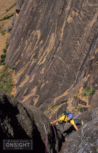 Fred Moix following pitch 6 of Cas Nullard (6a), 450m (10 pitches), Secteur Karambony, Tsaranoro, Madagascar.