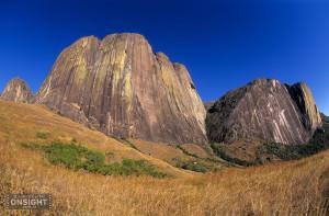 The Tsaranoro massif with The Karambony to the right, Tsaranoro, in the southern highlands of Madagascar.