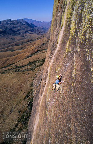 Benno Wagner, pitch 10 of Manara-Potsiny (8a), 600m (18 pitches) on Tsaranoro Be, Tsaranoro, Madagascar.