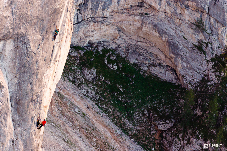 Barbara Zangerl, End of Silence (8b+) 11 pitches, Berchtesgaden Alps, Germany. Photo: Hannes Maier.