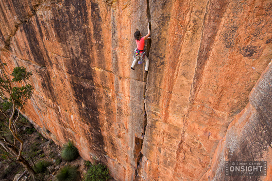 Nicky Dyal on Janicepts (21), Mt Piddington, Blue Mtns. Australia's first grade 21 route -- and still a test-piece!