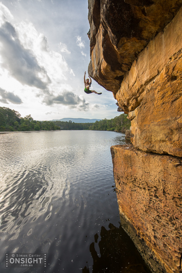 Jack Folkes falling 10m from his DWS project on the Shoalhaven River, near Nowra.