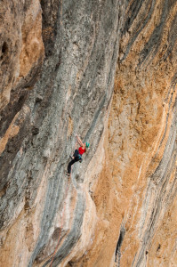Barabara Zangerl, Full Equip (8b+), Oliana, Spain. Photo: Monique Forestier.