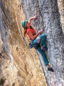 Barbara Zangerl sending Mind Control (8c+), Oliana, Spain. Photo: Walker Emerson.