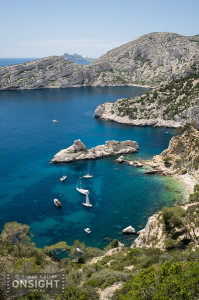Les Calanques, near Marseilles in France; a popular spot on the Mediterranean coast, France.