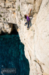 Nadine Rousselot leading the final pitch of the nine pitch traverse La Commune (6b) at Les Calanques.