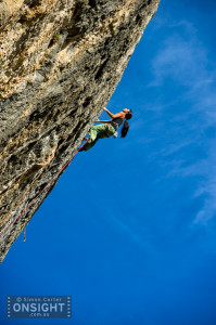 Daila Ojeda, En Gran Blau (8b+/c), Oliana, Spain. Photo: Simon Carter.