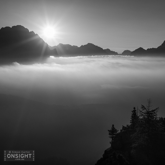 Dawn over the Dolomites seen from near Cinque Torri, Italy.
