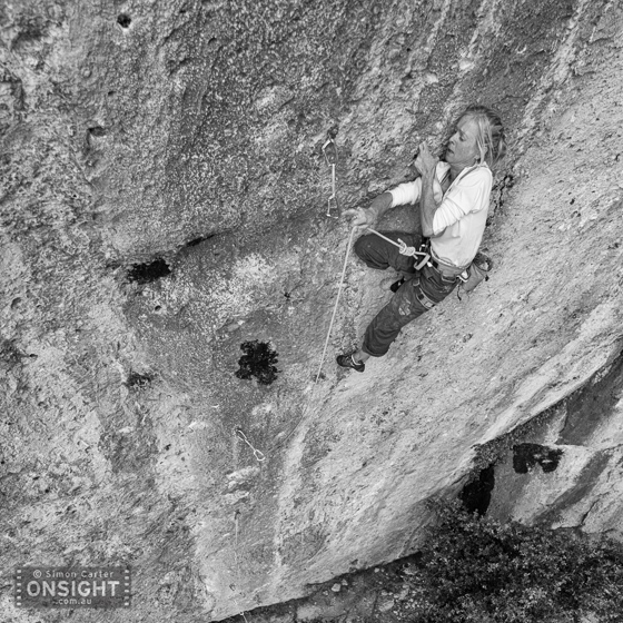 Monique Forestier working hard for the clip on Monochroma (7c+), Montsant, Spain.