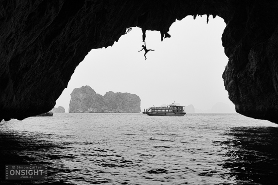 Monique Forestier, deep-water solo, 10 metres up at Turtle Cave, Halong Bay, Vietnam.