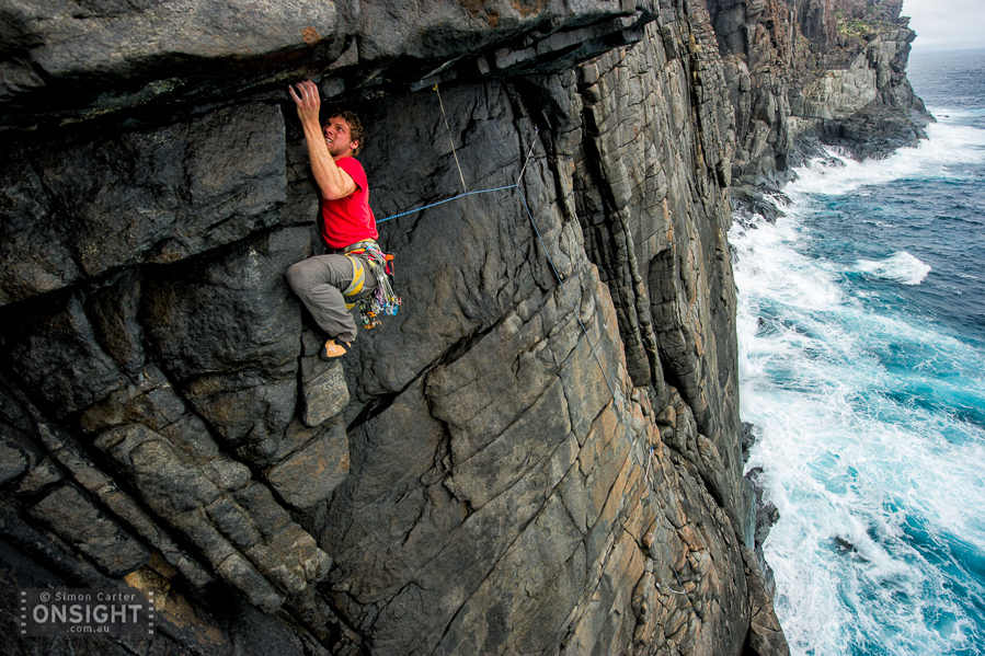 Jean-Philippe Dumas, pitch one Training for Big Walls (19,18), Southern Ocean Wall, West Cape Howe, Western Australia.