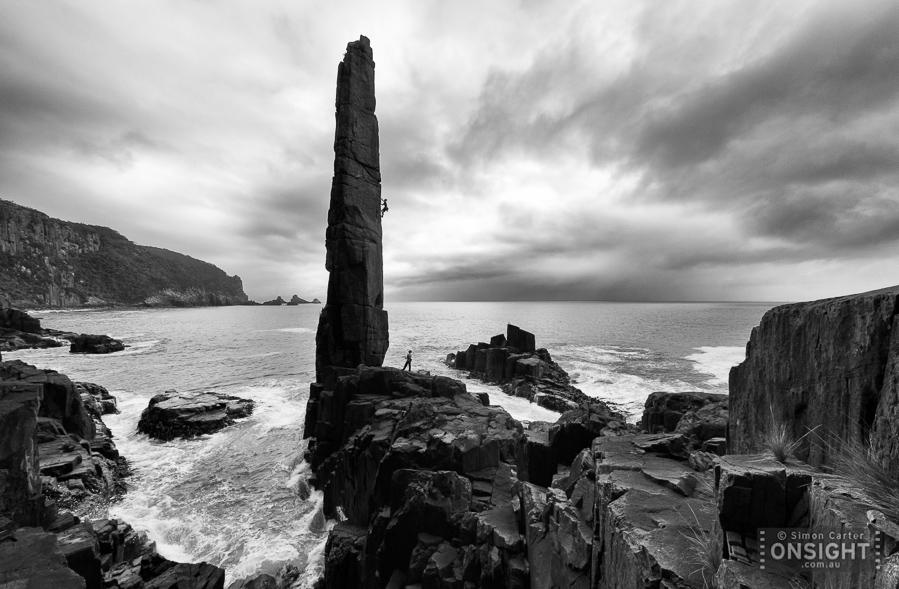 Chris Hampton, with Andy Kuylaars belaying, Ancient Astronaught (24), The Moai, Tasman Peninsula, Tasmania.