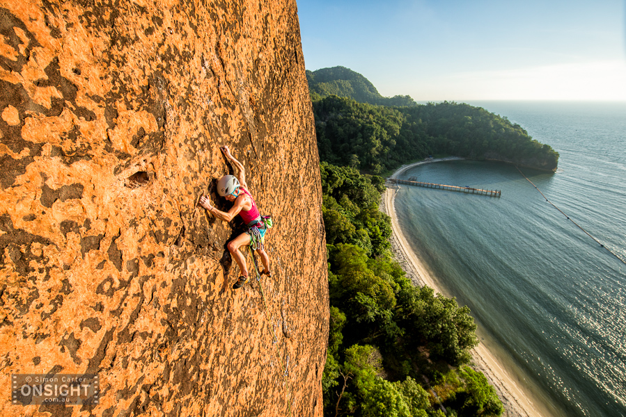 Monique Forestier attempting the first free ascent of a 5 pitch route on Berhala Island, Borneo, Malaysia.
