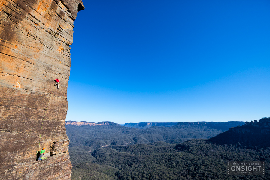 Neil Monteith with Matt Brooks belaying, pitch  two The Sublime and the Beautiful (18, 22, 20), Blue Mountains.
