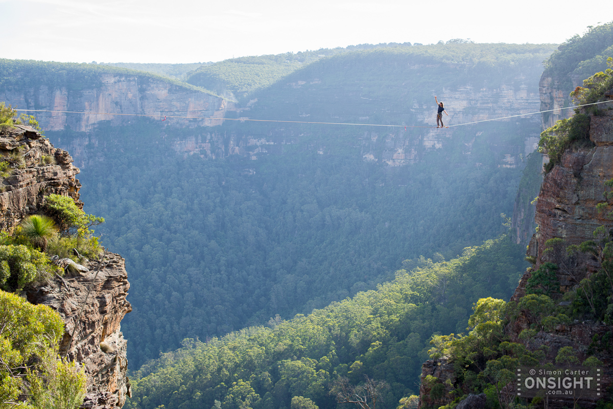 Bush walking in the Blue Mountains? Gui Lopes stepping out on the 70m line...