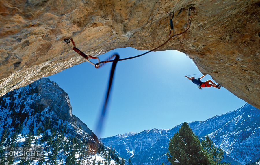 Jason Campbell, Gutbuster (5.14c), Mt Charleston, near Las vegas, Nevada, USA.