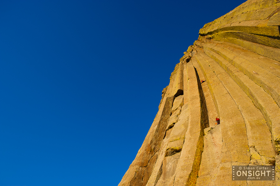 Brittany Griffith on El Matador (5.10d), one of the immaculate lines on Devils Tower, Wyoming, USA.