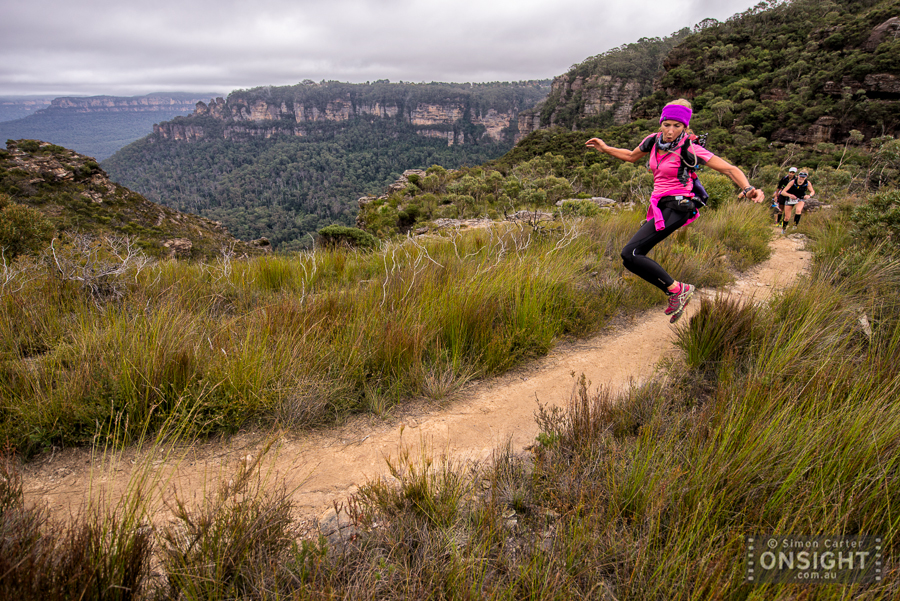 Some people know how to put on a show --however fleeting it may be... A runner in the 50km event of the The North Face 100 endurance race. Blue Mountains, 16 May 2015.