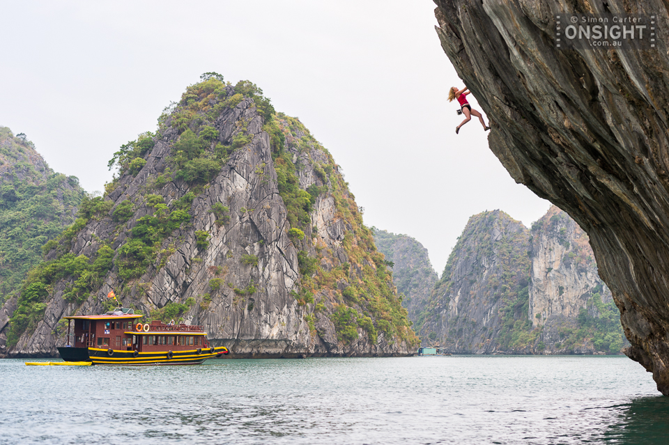 Sam Cujes deep-water soloing at Fisherman's Way, Ha Long Bay, Vietnam.