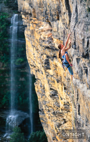 Jessica Ridder paddles up pitch two of Wally World (22), near Katoomba Falls in the Blue Mountains, NSW, Australia.