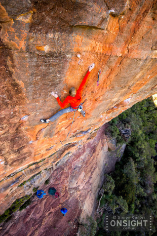Alexander Megos, Retired Extremely Dangerous aka The Red Project, at Diamond Falls in the Blue Mountains. The first grade 35 (9a) route in Australia. Ref: 029 D1840.