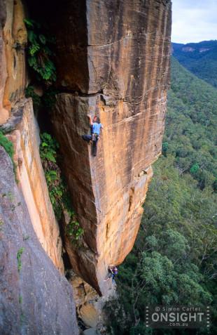 Stefan Glowacz onsighting Soul Catcher (25), Porter's Pass, Blue Mountains, NSW, Australia.