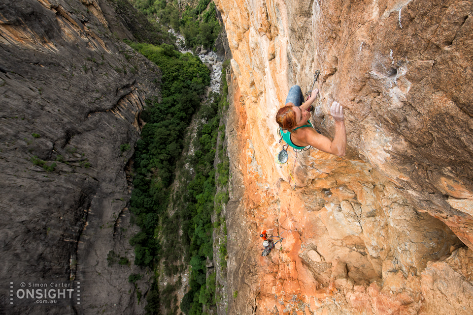 Kumari Barry with James Alexander belaying, pitch six Flaming Galah (24, 21, 19, 24, 26, 30, 27), Bungonia Gorge, NSW, Australia.