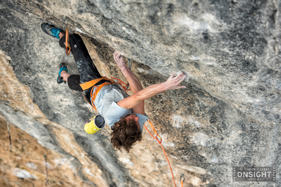 David Graham pulling ridiculously hard moves on Papichulo (9a+, or 36).