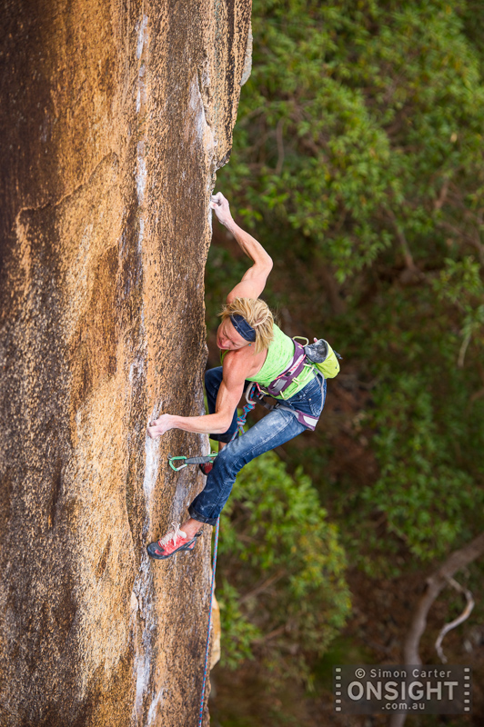 Monique Forestier on Whistling Kite (32), a classic thin and technical test-piece at Frog Buttress, Queensland, Australia.